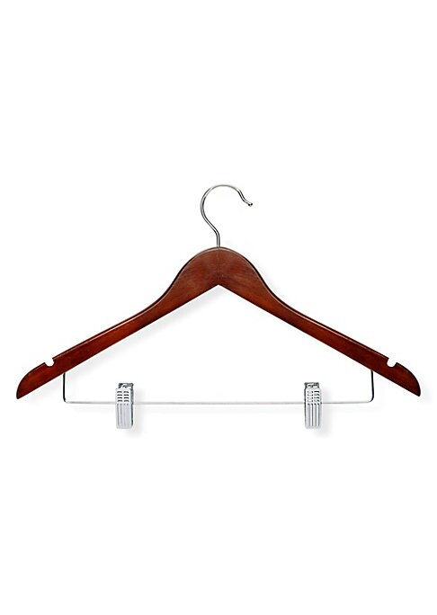 "Image of Contoured suit hangers crafted in beautiful cherry wood. 12-Pack. 17.5""L x 9.75""W. .Wood/steel. Imported."