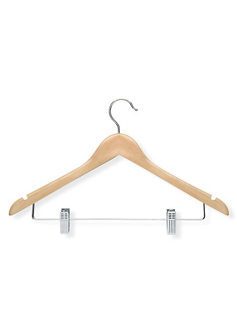 "Image of Contoured suit hangers crafted in beautiful maple wood. 12-Pack. 17.5""L x 9.75""W. .Wood/steel. Imported."