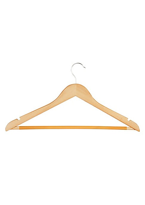 "Image of Non-slip wooden coat hangers crafted in classic maple wood. 24-Pack. 17.75""L x 45""W x 9""H. .Wool/steel/vinyl. Imported."