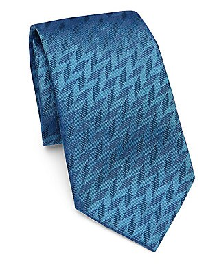 Image of Textured chevron print covers bright silk tie Width, 3.5 Silk Dry clean Made in Italy. Men Luxury Coll - Armani Neckwear. Emporio Armani. Color: Turquoise.