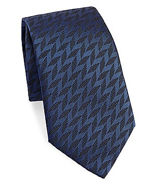 """Image of Elegant tie with an allover chevron pattern 3.5"""" wide Lined Mulberry silk/polyester Dry clean Made in Italy. Men Luxury Coll - Armani Neckwear. Emporio Armani. Color: Solid Blue."""