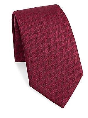 """Image of Elegant tie with an allover chevron pattern 3.5"""" wide Lined Mulberry silk/polyester Dry clean Made in Italy. Men Luxury Coll - Armani Neckwear. Emporio Armani. Color: Fire."""