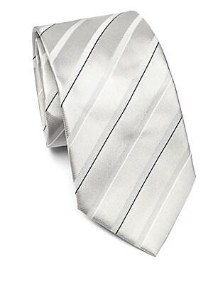 "Image of Printed tie in luxurious silk Silk 3.5"" Made in Italy. Men Luxury Coll - Armani Neckwear. Emporio Armani. Color: Grey."