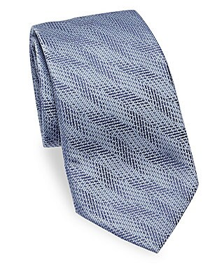 """Image of Textured tie in luxurious silk Silk 3.5"""" Made in Italy. Men Luxury Coll - Armani Neckwear. Emporio Armani. Color: Soft Blue."""