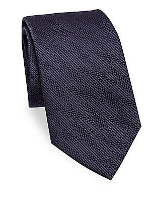 "Image of Classic tie in luxurious silk Silk 3.5"" Made in Italy. Men Luxury Coll - Armani Neckwear. Emporio Armani. Color: Dark Grey."