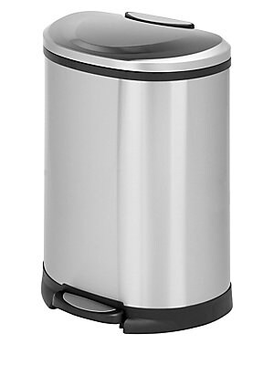 """Image of 50 Liter step trash can with hand print resistant exterior 19""""L x 14.3""""W x 26.7""""H Steel Imported. Gifts - Decorative Home > Saks Fifth Avenue. Honey-Can-Do."""