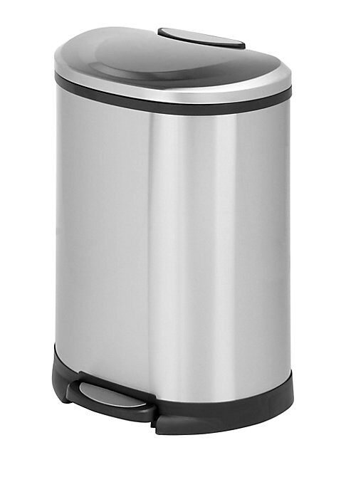 """Image of 50 Liter step trash can with hand print resistant exterior. 19""""L x 14.3""""W x 26.7""""H.Steel. Imported."""
