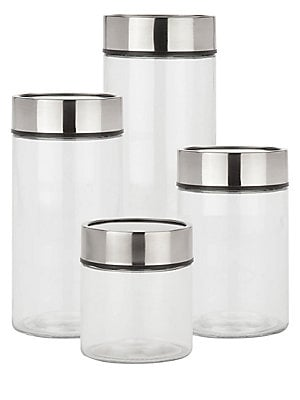 "Image of 4-Piece glass canister set with date dial lids Small: 4.5""L x 4.5""W x 5""H Medium: 4.5""L x 4.5""W x 7""H Large: 4.5""L x 4.5""W x 9""H X-Large: 4.5""L x 4.5""W x 12""H Glass Imported. Gifts - Decorative Home. Honey-Can-Do."