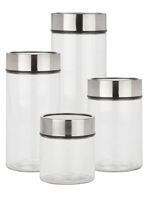 """Image of 4-Piece glass canister set with date dial lids. Small: 4.5""""L x 4.5""""W x 5""""H.Medium: 4.5""""L x 4.5""""W x 7""""H.Large: 4.5""""L x 4.5""""W x 9""""H.X-Large: 4.5""""L x 4.5""""W x 12""""H.Glass. Imported."""