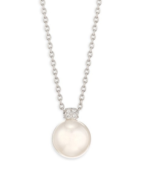 18K White Gold, 11MM South Pearl & Diamond Pendant Long Necklace