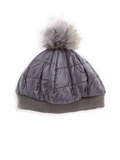 Bari Lynn. Fur Pompom Fluffy Hat