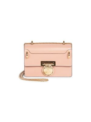 Glace Leather Box Shoulder Bag - Pink