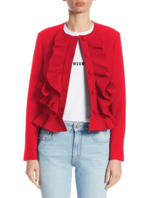 Ruffle Fitted Jacket in Red