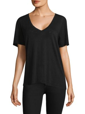 SPLENDID Cotton Modal Slub V Tee in Black