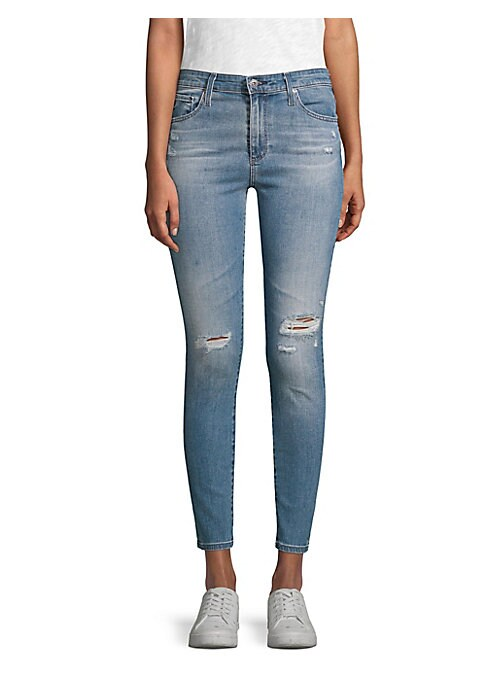 "Image of Ankle length jeans in high waisted silhouette. Belt loops. Zip fly with button closure. Five-pocket style. Rise, about 10"".Inseam, about 28"".Cotton/polyurethane. Machine wash. Made in USA. Model shown is 5'10"" (177cm) wearing US size 4."