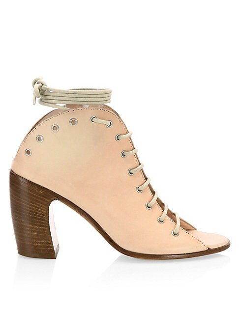 """Image of Lace-up open toe boots with an avant-garde heel. Leather banana heel, 2.76"""" (70mm).Leather upper. Open toe. Lace-up vamp. Leather lining and sole. Padded insole. Made in Italy."""