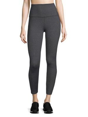 "Image of Cropped leggings with smooth stretch. Wide waistband. Rise, about 9"".Inseam, about 26"".Leg opening, about 8"".Nylon/polyester/spandex. Dry clean. Imported. Model shown is 5'10"" (177cm) wearing US size Small."