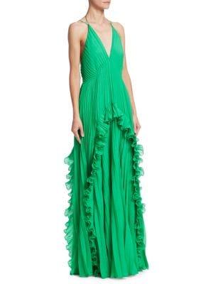 HALSTON HERITAGE Ruffled Plissé-Chiffon Maxi Dress in Green