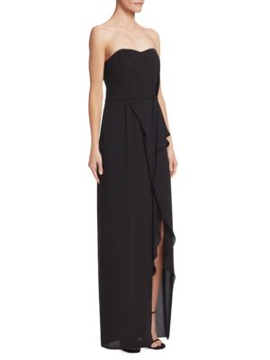Strapless Ruffle-Front Gown in Black