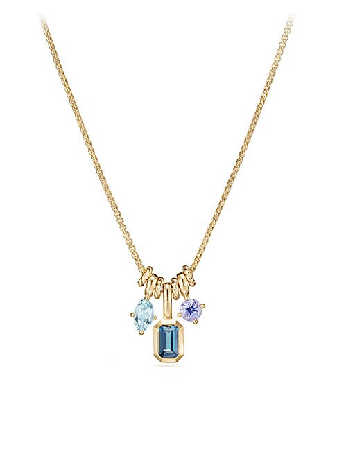 "Image of An elegant cluster of pendants on a luxurious gold chain.18k yellow gold. Mixed gemstones. Length, 17"".Lobster clasp closure. Imported."