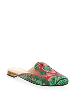 Flamingo Embroidered Slipper Shoes in Multicolour