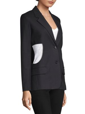 Single-Breasted Cutout-Sides Canvas Blazer, Black