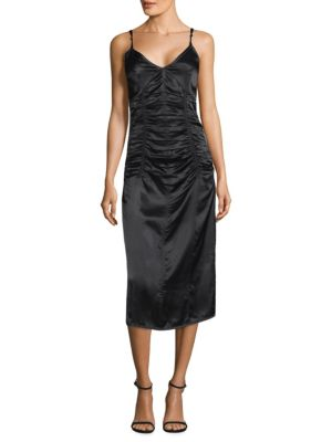 Ruched V-Neck Sleeveless Slip Cocktail Dress, Black