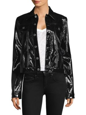 Point-Collar Patent Jacket in Black