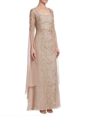 TERI JON BY RICKIE FREEMAN Draped Lace Scoop-Neck Gown in Blush