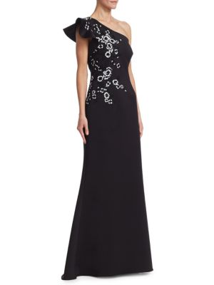 TERI JON BY RICKIE FREEMAN One-Shoulder Ruffle Floral AppliquÉ Gown in Black