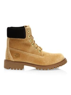 + Timberland Logo-Embossed Velvet Ankle Boots in Neutrals