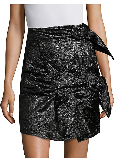 """Image of Crinkled silk mini skirt finished with edgy buckles. Wrap-around buckled waist. Middle wrap-around buckle detail. Ruffled hem. About 24"""" long. Silk. Dry clean. Made in Italy. Model shown is 5'10"""" (177cm) wearing US size 4."""
