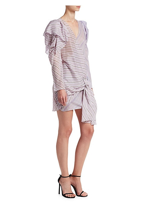 """Image of Striped wrap dress with buckle detail. Surplice style. Long sleeves. Ruffle shoulder detail. Buckle detail. About 35"""" from shoulder to hem. Cotton. Dry clean. Made in Italy. Model shown is 5'10"""" (177cm) wearing US size 4."""