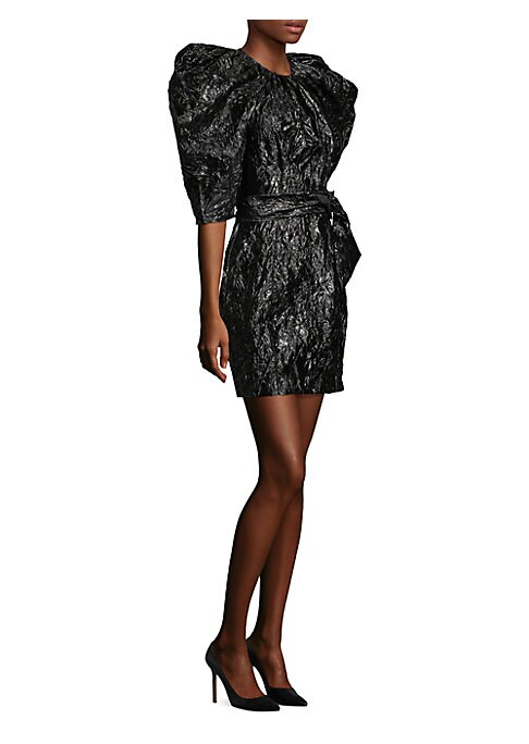 """Image of Silk crinkle dress highlighted with puffed sleeves. Roundneck. Elbow-length sleeves. Belted waist. Concealed back zip closure. About 35"""" from shoulder to hem. Polyamide/silk. Dry clean. Made in Spain. Model shown is 5'10"""" (177cm) wearing US size 4. ."""