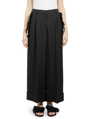 Scallop-Edged Wide-Leg Crepe Trousers in Black