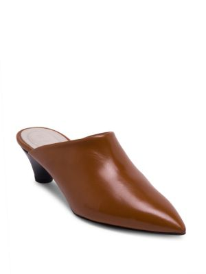 Sabot Leather Point Toe Clogs in Brown