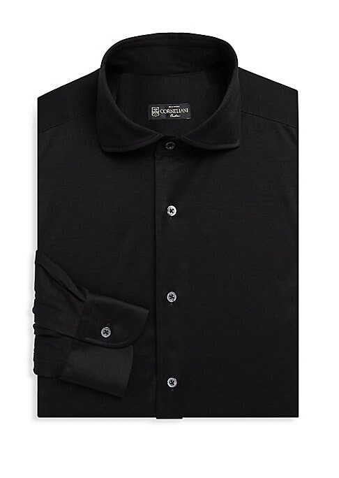 """Image of A soft jersey cotton button-down is versatile and professional. Spread collar. Long sleeves. Button front closure. Button cuffs. About 29"""" from shoulder to hem. Cotton. Machine wash. Made in Italy."""