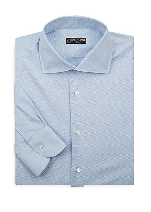 """Image of Casual cotton dress shirt with structured dash pattern. Spread collar. Long sleeves. Buttoned cuffs. Button front. About 29"""" from shoulder to hem. Cotton. Dry clean. Made in Italy."""