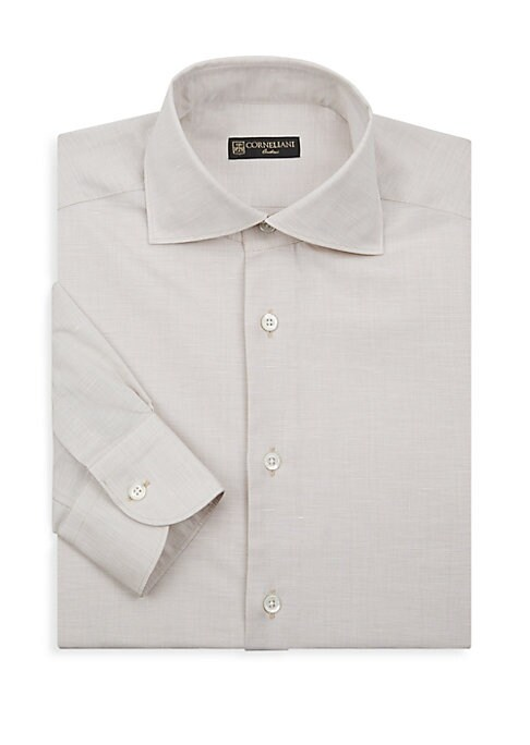 """Image of Casual dress shirt tailored from soft cotton fabric. Spread collar. Long sleeves. Buttoned cuffs. Button front. Regular-fit. About 29"""" from shoulder to hem. Cotton. Dry clean. Made in Italy."""
