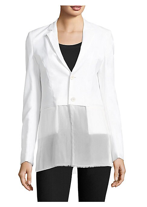 """Image of Blazer featuring contrast semi-sheer hem. Notch lapels. Long sleeves. Button front. Waist welt pockets. Semi-sheer hem. About 29.25"""" from shoulder to hem. Wool. Hem: Silk. Dry clean. Imported. Model shown is 5'10"""" (177cm) wearing US size Small."""