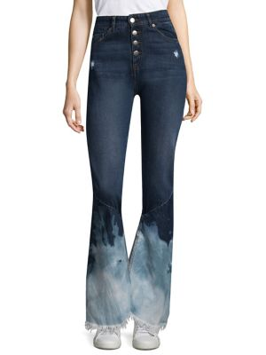 EACH X OTHER Button Bleached Jeans in Blue