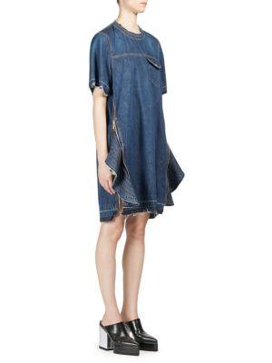 Zip-Embellished Denim Dress in Dark Denim
