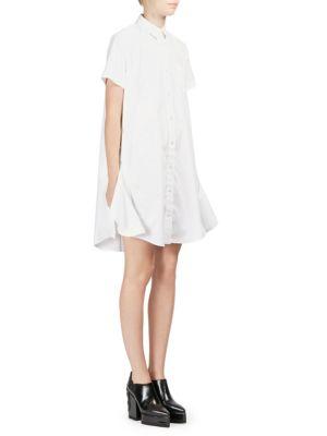 Side-Zip Poplin Shirtdress in White