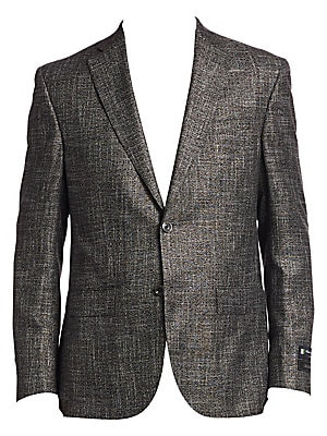 """Image of From the Saks IT LIST THE JACKET The wear everywhere layer that instantly dresses you up. ONLY AT SAKS Textured button-front jacket in subtle sheen finish Notch collar Long sleeves Front flap pockets Button-front About 32"""" from shoulder to hem Viscose Dry"""
