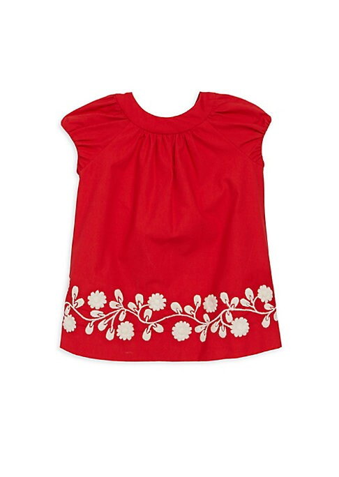 Image of Comfy cotton dress accented with contrasting floral design. Roundneck. Sleeveless. Three-button placket. Cotton. Machine wash. Imported.