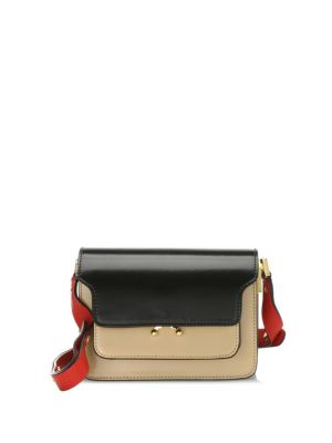 Trunk Leather Shoulder Bag, Black Dune