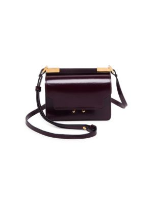 Micro Leather Trunk Crossbody, Wine