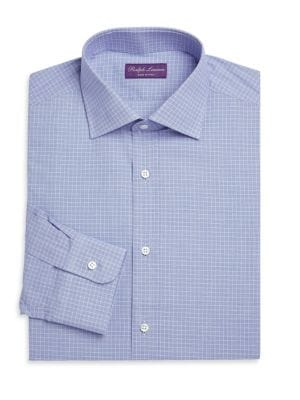 """Image of Archetypal button-down in petite check plaid. Spread collar. Long sleeves. Button cuffs. Button front. Shirttail hem. About 29"""" from shoulder to hem. Cotton. Dry clean. Made in Italy."""