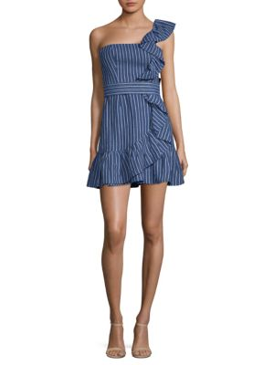 Konner One Shoulder Striped Denim Dress, Denim Stripes