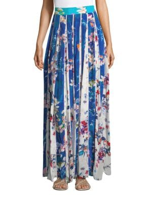 ROCOCO SAND Floral Crepe Maxi Skirt in Blue